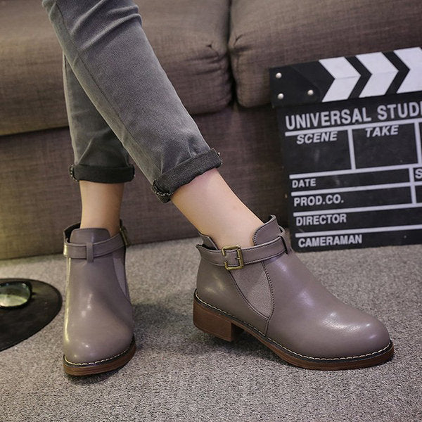 Women Casual Buckle Chunky Heel Ankle Boots