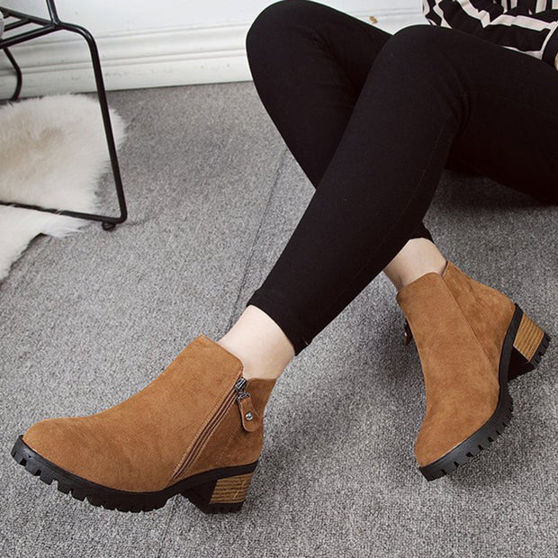 Women Suede Casual Ankle Chunky Heel Boots