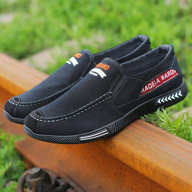 Men Washed Canvas Low Top Flat Shoes