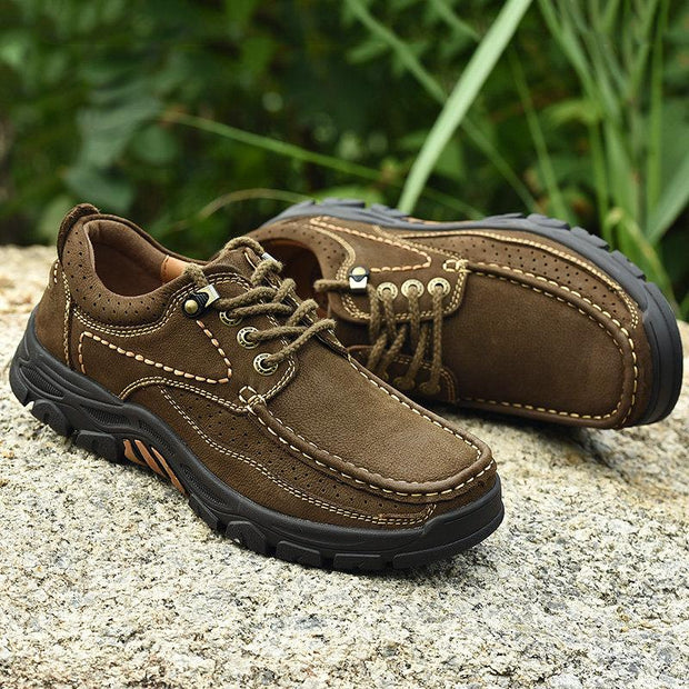 Men Breathable Wear-resistant Lace Up Waking Shoes