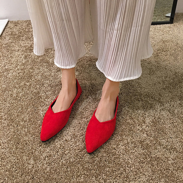 Women Classic Pointed Toe Flats Shoes