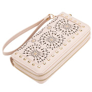 Women Hollow Floral  Wristlet Zip Pouch Wallet Bag