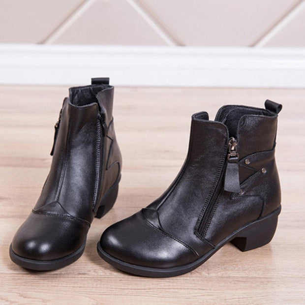 Women Leather Stitching Mid Heel Zipper Short Boots
