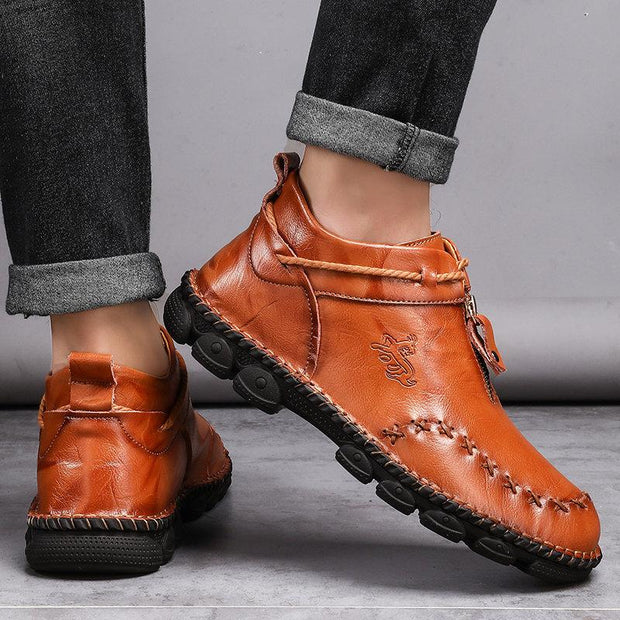 Men Hand Stitching Leather Non Slip Large Size Boots