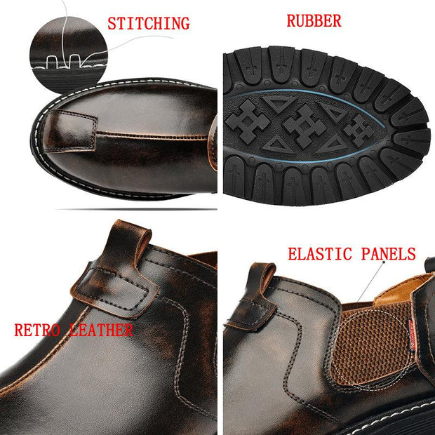 Men Casual Retro Leather Non-slip Shoes