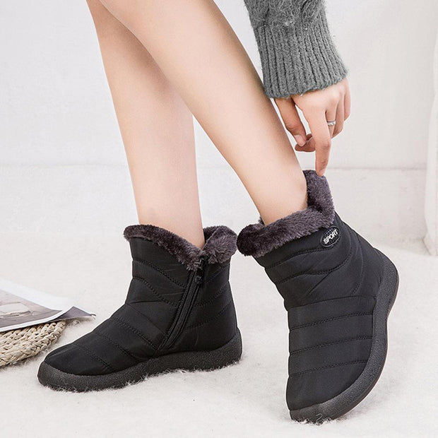 Women Winter Antiskid Waterproof Plush Lined Zipper Short Boots