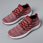 Men's Mesh Breathable Knitted Fabric Lightweight Lace-Up Running Shoes Sneakers