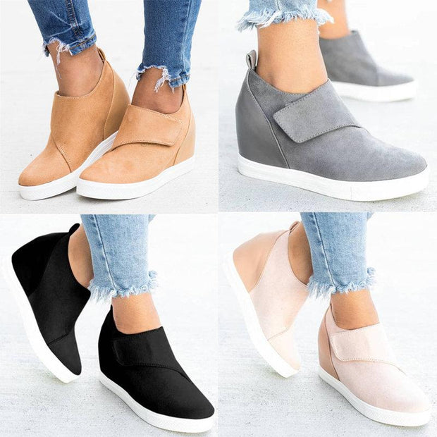 Women Large Size Hook Loop Hidden Heel Casual Shoes