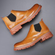Men Comfy Round Toe Brogue Slip On Non Slip Chelsea Ankle Boots