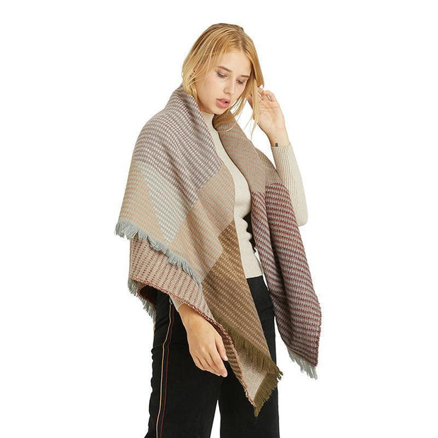 Winter thick scarf cashmere geometric pattern large scarf shawl