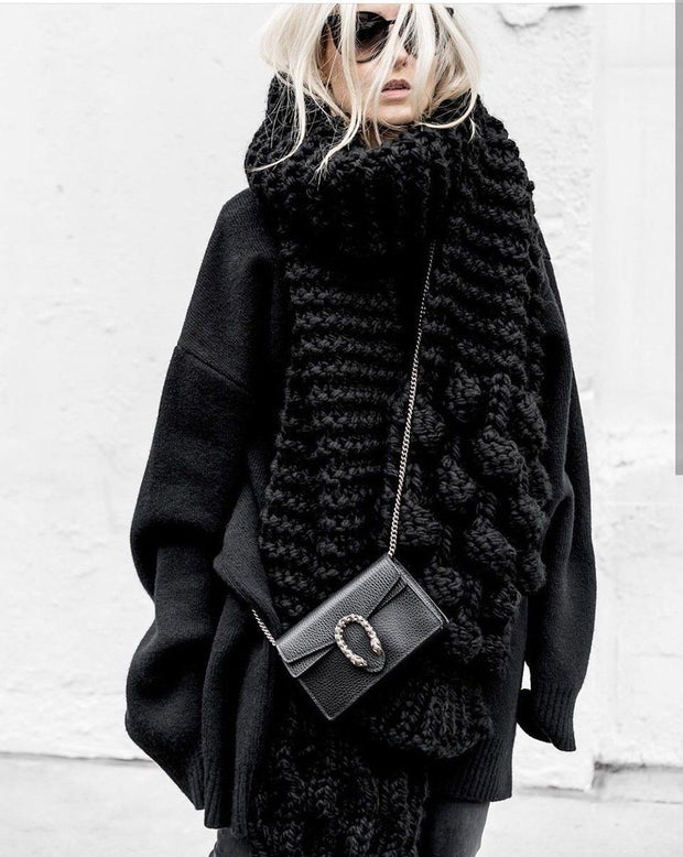 2019 wool scarf super long thick female sea hair scarf oversized knit thick collar shawl dual purpose
