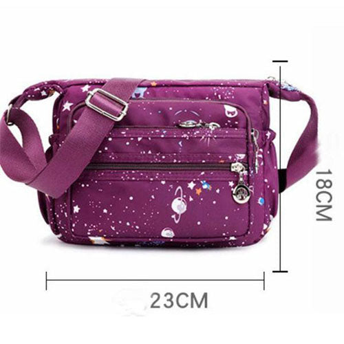 Waterproof Multi-pocket Printing Shoulder Bag