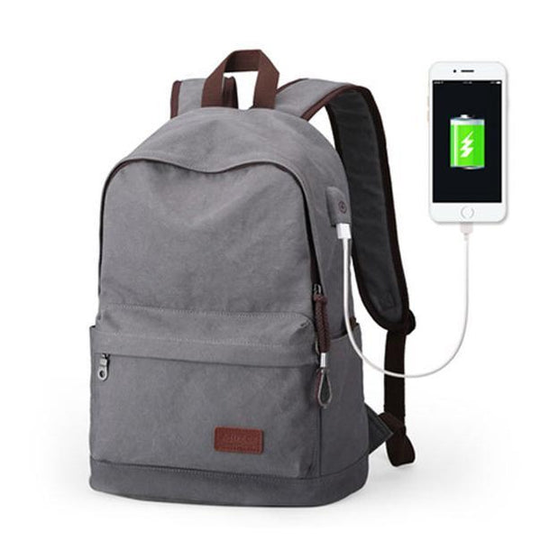Multi-Functional Canvas USB Backpack