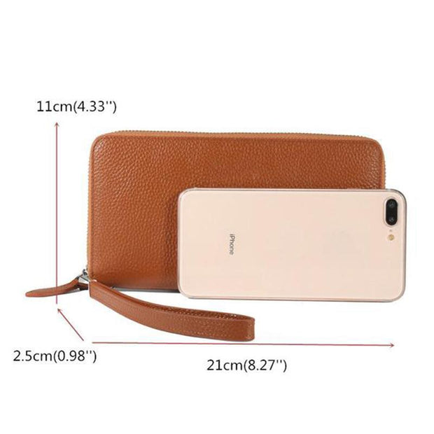 RFID Genuine Leather Large Capacity Long Wallet Clutch