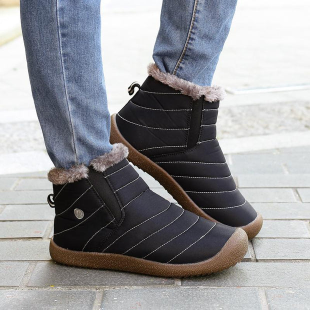 Men's Winter Thickening Faux Fur Lining Water-resistant Ankle Boots