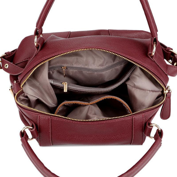 Large Capacity Women Leather Tote Casual  Solid Shoulder Bags 115735