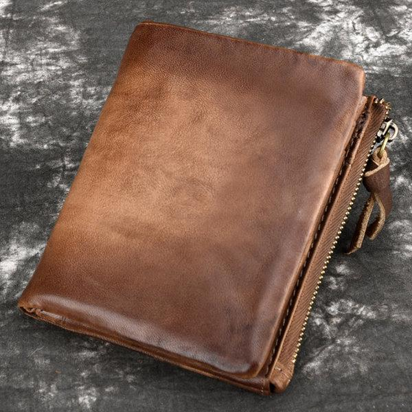 Men Genuine Leather Vintage Short Wallet
