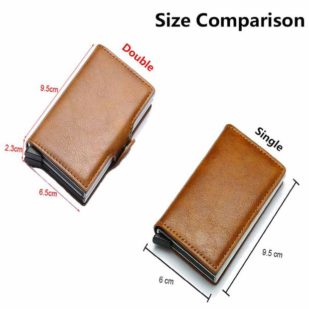 Portable Leather Aluminum Automatic Card Clip Purse