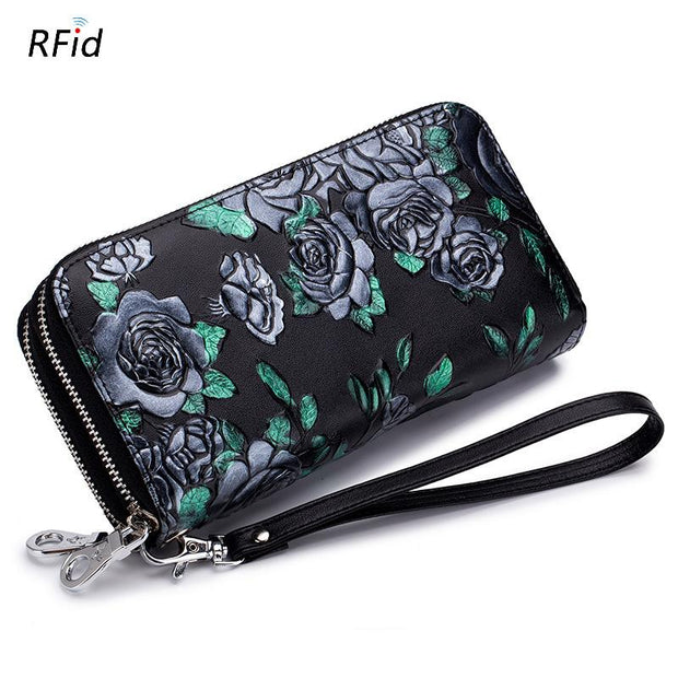 Rfid Anti-theft Double Zipper Card Holder Wallet