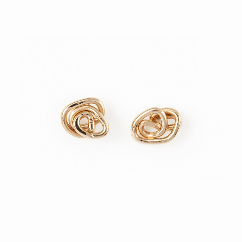 Elke Van Dyke Design 14K Gold Knot Stud Earrings