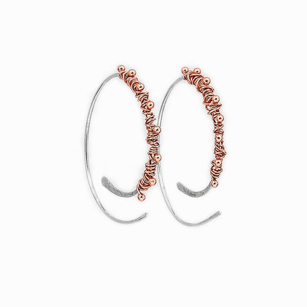Copper Dewdrop Hoop Threader Earrings