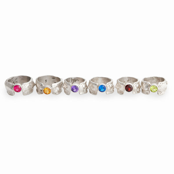 Gemstone Waterfall Ring - Thin Band