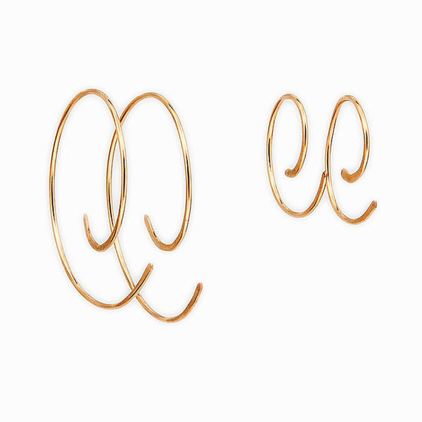 Gold Spiral Hoop Threader Earrings