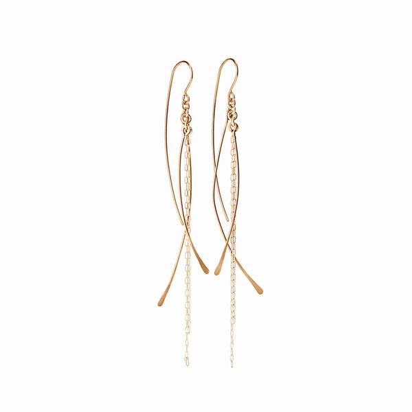 Elke Van Dyke Design Gold Waterfall Chain Dangle Earrings Front View