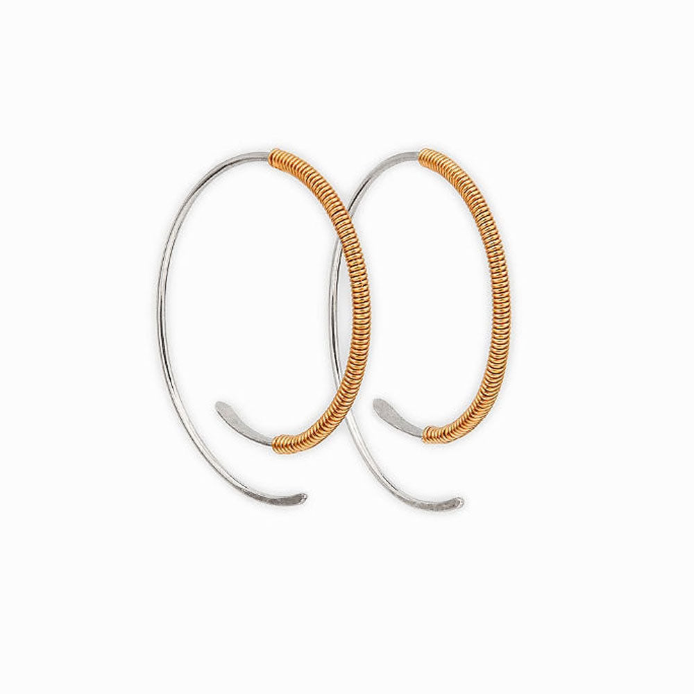 Gold Wrapped Spiral Hoop Threader Earrings