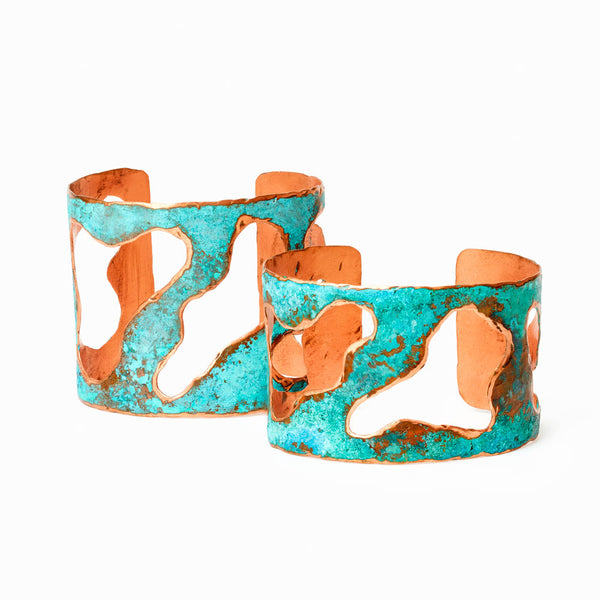 "Elke Van Dyke Design Lake Copper Cuff Bracelet 1.5"" Inch Front View"