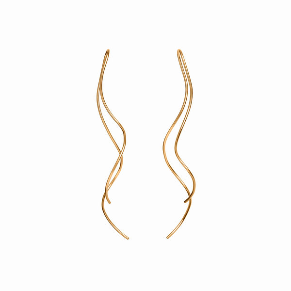 Long Gold Squiggle Threader Earrings