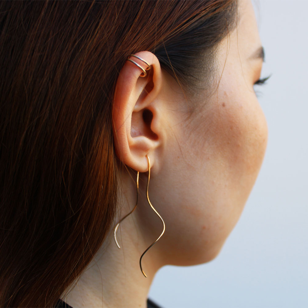 Long Rose Gold Squiggle Threader Earrings