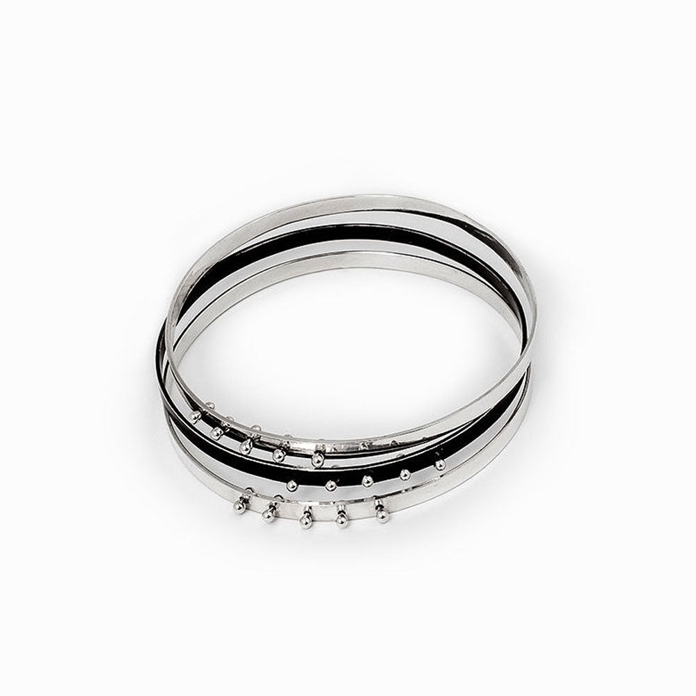 Moonscape Silver Bangle Bracelet