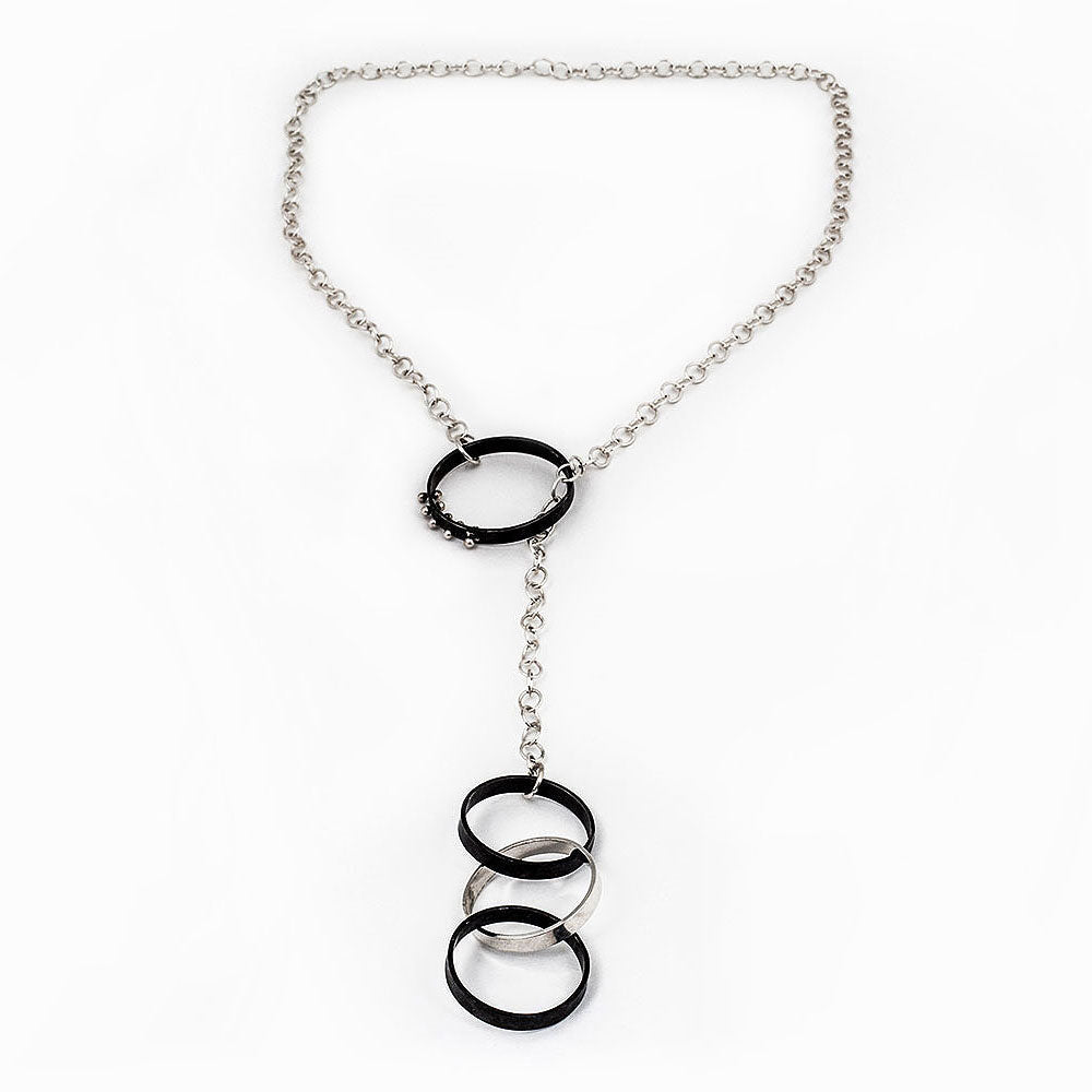 Oxidized Moonscape Lariat Necklace