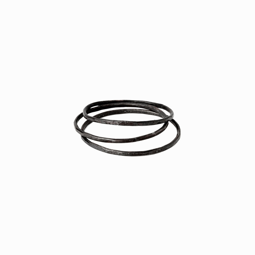 Oxidized Silver Stacking Ring - Set of 3