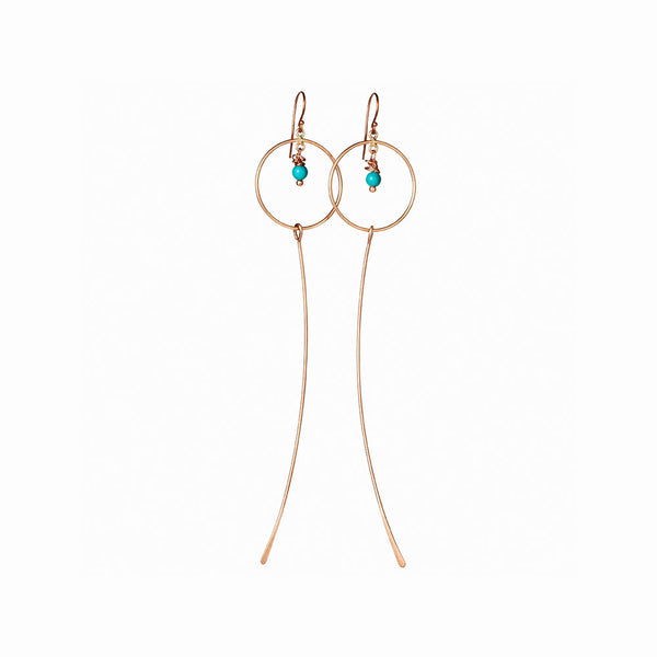 Rose Gold Moon Dangle Earrings with Turquoise