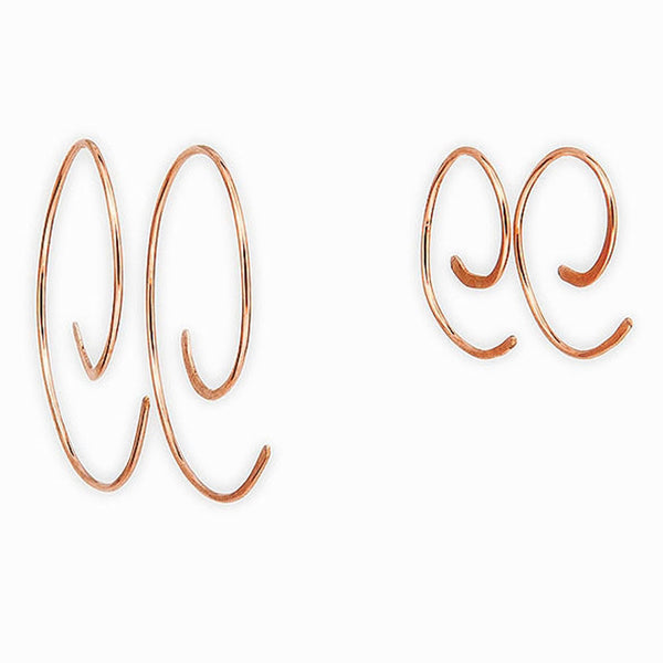 Rose Gold Spiral Hoop Threader Earrings