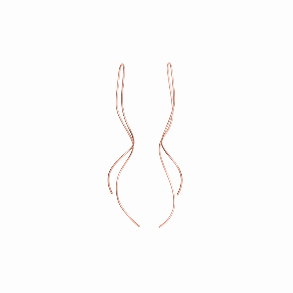 Rose Gold Squiggle Threader Earrings