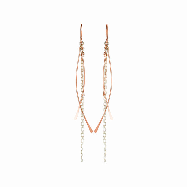 Elke Van Dyke Design Rose Gold Waterfall Chain Dangle Earrings Front View