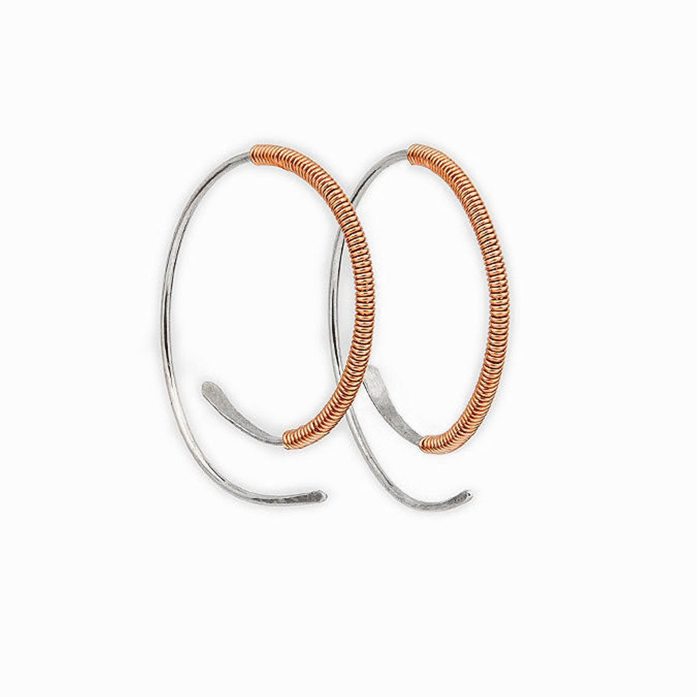 Rose Gold Wrapped Spiral Hoop Threader Earrings