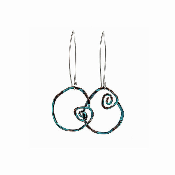 Seascape Turquoise Spiral Earrings