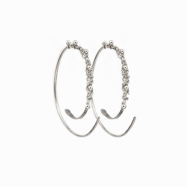Silver Dewdrop Hoop Threader Earrings