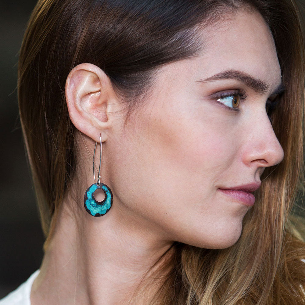 Elke Van Dyke Design Turquoise Dome Earrings on Model