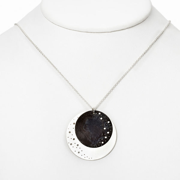 Silver Eclipse Pendant Necklace