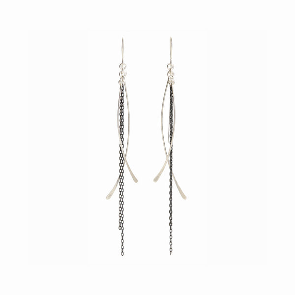 Silver Waterfall Chain Dangle Earrings
