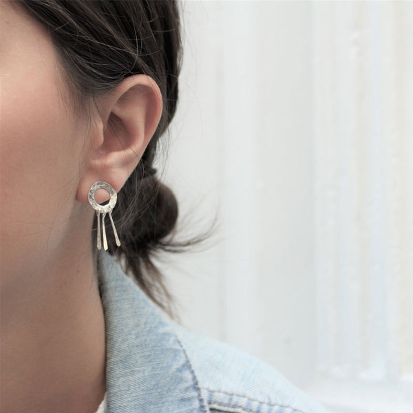 Silver Waterfall Stud Earrings