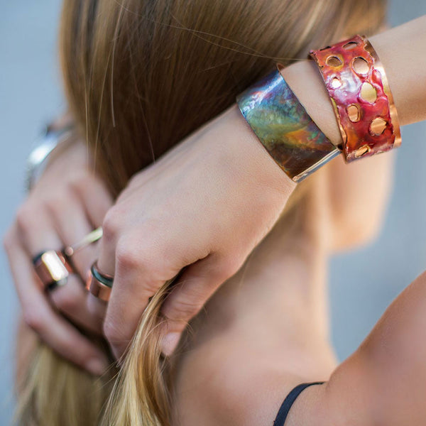 Small Rainbow Copper Cuff Bracelet