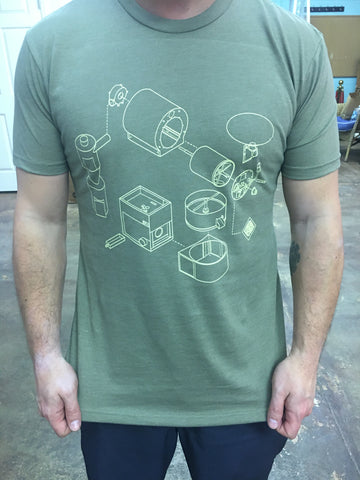 Roastery t-shirt with Exploded Roaster Logo