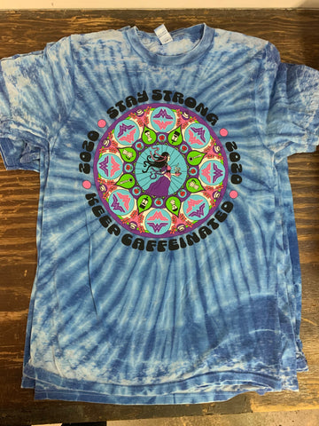 2020 TYE DYE STAY STRONG T-SHIRT (ocean blue/ white- buttery soft!)
