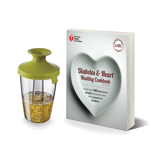 SET: Diabetes and Heart Healthy Cookbook & Dressing Shaker Kit